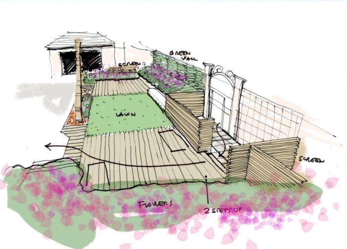 schizzo progetto cortile verde a riyadh