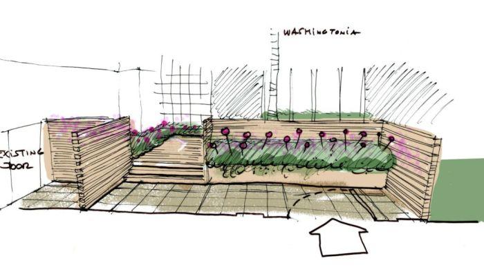 schizzo fioriere e cambi di livello per cortile