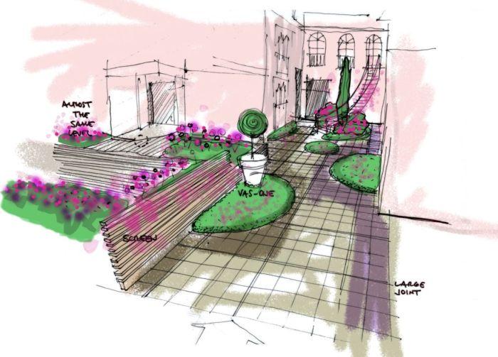 schizzo cortile con aree verdi e elementi di arredo