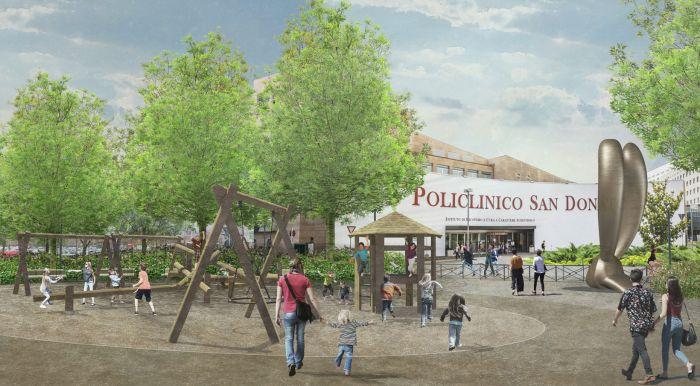 Area giochi del Parco dei Conigli affacciata sull'ingresso del Policlinico