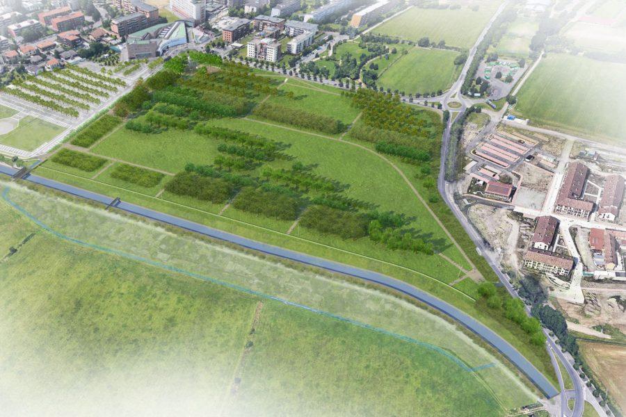 Vista complessiva, dall'alto, del progetto del Parco dei Conigli di San Donato Milanese