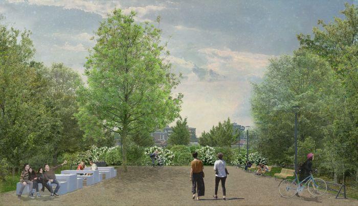 Vista di un'area attrezzata per il pic nic al Parco dei Conigli di San Donato Milanese