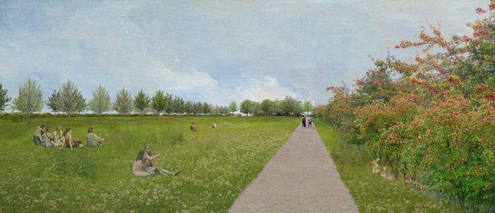 Vista del Parco dei Conigli di San Donato Milanese: pratii, percorsi ciclabili e vegetazione autoctona